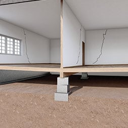 Australian home with wall cracks due to sinking piers
